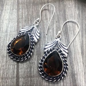 Sliver stamped Smokey topaz crystal drop earrings